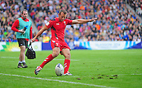 Wales's Gareth Davies attempts a conversion<br /> <br /> Wales Vs England - men's classification 5th - 6th place match<br /> <br /> Photographer Chris Vaughan/CameraSport<br /> <br /> 20th Commonwealth Games - Day 4 - Sunday 27th July 2014 - Rugby Sevens - Ibrox Stadium - Glasgow - UK<br /> <br /> © CameraSport - 43 Linden Ave. Countesthorpe. Leicester. England. LE8 5PG - Tel: +44 (0) 116 277 4147 - admin@camerasport.com - www.camerasport.com