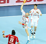 21.01.2013 Barcelona, Spain. IHF men's world championship, Eighth Final. Picture show Bielecki  in action during game Hungary vs Poland at Palau St Jordi