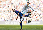 Mateo Kovacic (R) of Real Madrid battles for the ball with Sergio Busquets Burgos (L) of FC Barcelona during the La Liga 2017-18 match between Real Madrid and FC Barcelona at Santiago Bernabeu Stadium on December 23 2017 in Madrid, Spain. Photo by Diego Gonzalez / Power Sport Images