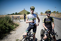 Australian TT champion Luke Durbridge (AUS/Mitchelton-Scott) & Adam Yates (GBR/Mitchelton-Scott) during a little break in the  TTT training by Team Mitchelton-Scott > preparing for the 2019 Tour de France 'Grand Départ'  in Brussels<br /> <br /> ©kramon