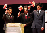"December 5 2017, Tokyo, Japan - Japanese actors Takayuki Yamada (L), Shun Oguri (R) and Fuhutsu Connected Technologies president Katsumi Takada (C) open a sake barrel with wooden hammers  at a promotinal event of Japanese electronics giant Fujitsu's smartphone ""arrows NX F-01K"" in Tokyo, on Tuesday, December 5, 2017.      (Photo by Yoshio Tsunoda/AFLO) LWX -ytd-"