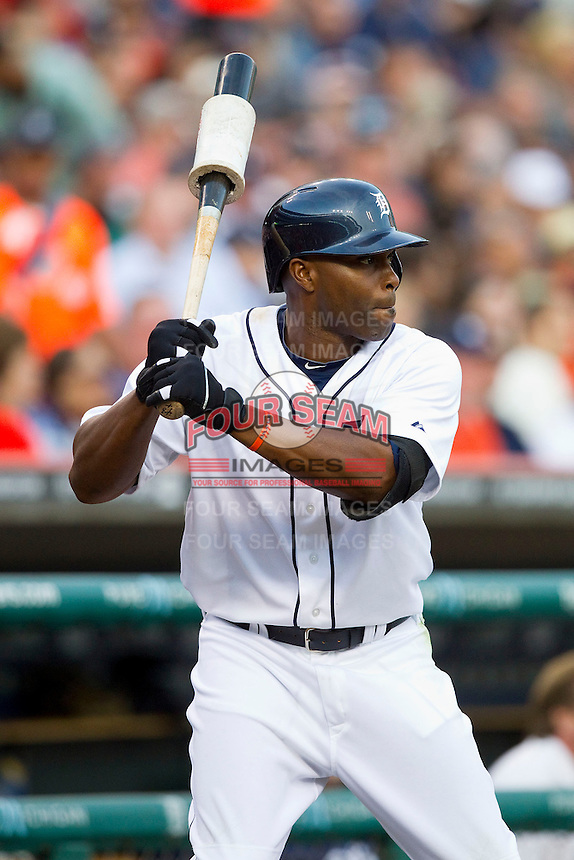 Torii Hunter (48) of the Detroit Tigers waits for his turn to hit against the Tampa Bay Rays at Comerica Park on June 4, 2013 in Detroit, Michigan.  The Tigers defeated the Rays 10-1.  Brian Westerholt/Four Seam Images