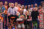 Jimmy Buffett, Kelly Devine and Christopher Ashley with cast during the Press Sneak Peak for the Jimmy Buffett  Broadway Musical 'Escape to Margaritaville' on February 15, 2018 at the Marquis Theatre in New York City.