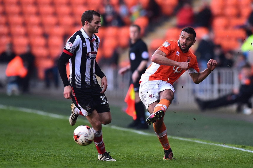 Blackpool's Kelvin Mellor in action<br /> <br /> Photographer Richard Martin-Roberts/CameraSport<br /> <br /> The EFL Sky Bet League Two - Blackpool v Grimsby Town - Saturday 8th April 2017 - Bloomfield Road - Blackpool<br /> <br /> World Copyright &copy; 2017 CameraSport. All rights reserved. 43 Linden Ave. Countesthorpe. Leicester. England. LE8 5PG - Tel: +44 (0) 116 277 4147 - admin@camerasport.com - www.camerasport.com
