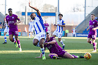 Anthony Gerrard of Carlisle United makes a crucial intervention to prevent Kane Vincent-Young of Colchester United surging forward during Colchester United vs Carlisle United, Sky Bet EFL League 2 Football at the JobServe Community Stadium on 23rd February 2019