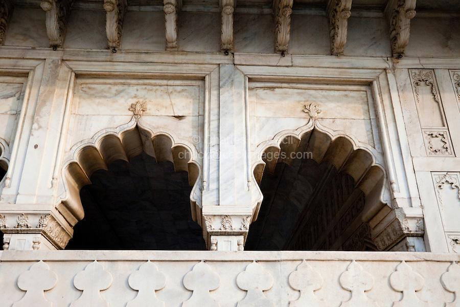 Agra, India.  Agra Fort, Musammam Burj Pavilion Arches.