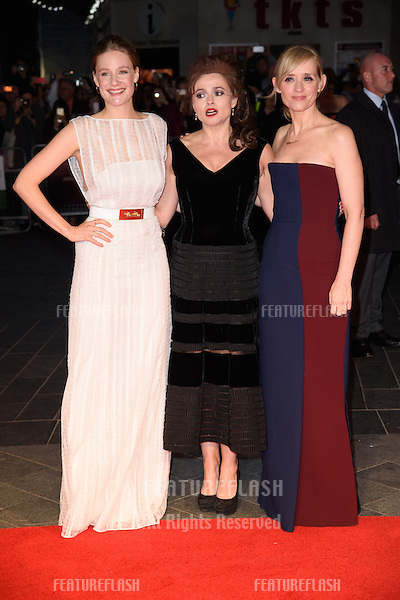 Romola Garai, Helena Bonham Carter &amp; Anne Marie Duff at the BFI London Film Festival premiere of &quot;Suffragette&quot; at the Odeon Leicester Square, London.<br /> October 7, 2015  London, UK<br /> Picture: Steve Vas / Featureflash