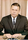 Washington, DC - July 6, 2009 -- Former United States Secretary of Defense Robert S. McNamara, Architect of Vietnam War, died in his sleep at his home in Washington in the early morning of Monday, July 6, 2009. McNamara, who served as Secretary of Defense under Presidents Kennedy and Johnson, was 93.  This file photo from 1963 shows McNamara conducting a briefing presumably on cutting costs at the Pentagon..Credit: Arnie Sachs / CNP