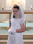 Kaelah Maguire from LeCheile school who received her first holy communion at the Star of the Sea church Mornington. Photo: Colin Bell/pressphotos.ie
