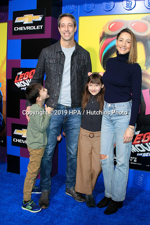"""LOS ANGELES - FEB 2:  Dean Saliman, Justin Saliman, Stella Saliman, Bree Turner at """"The Lego Movie 2: The Second Part"""" Premiere at the Village Theater on February 2, 2019 in Westwood, CA"""