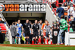 Teams enter the pitch before the 2015 Vanarama Conference Promotion Final match between Grimsby Town and Bristol Rovers at Wembley Stadium, London<br /> Picture by David Horn/eXtreme aperture photography +44 7545 970036<br /> 17/05/2015