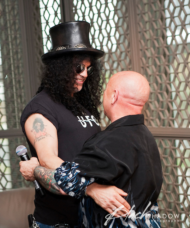 Slash and Angry Anderson at the media call for the MTV Classic launch at Maze Restaurant, Crown Metropole, Melbourne, 27 April 2010