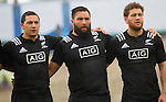 Codey Rei (L), Joe Royal, Tawera Kerr-Barlow. Maori All Blacks vs. Fiji. Suva. MAB's won 27-26. July 11, 2015. Photo: Marc Weakley