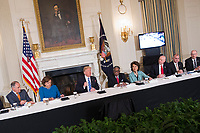 United States President Donald J. Trump holds a meeting with state and local officials regarding his infrastructure plan, February 12, 2018 at The White House in Washington, DC. <br /> CAP/MPI/CNP/RS<br /> &copy;RS/CNP/MPI/Capital Pictures