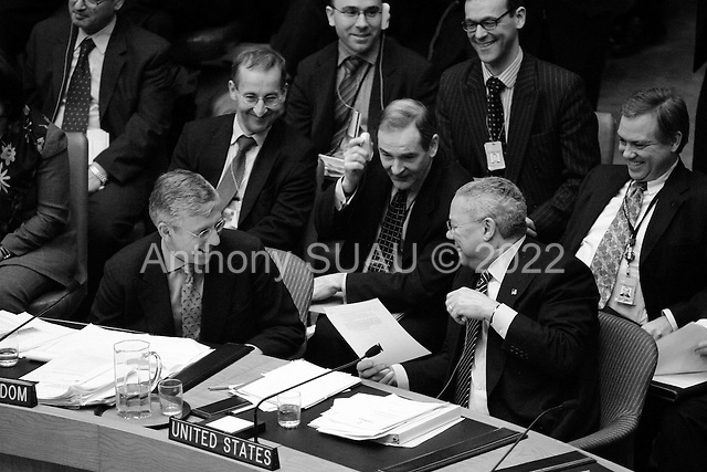 New York, New York.USA.March 7, 2003..The United Nations Security Council meets on the crisis in Iraq...The British Foreign Minister Jack Straw and US Secretary of State Colin Powell share a laugh just after the British Minister addressed the Security Council.