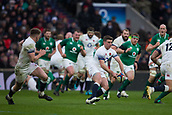 17th March 2018, Twickenham, London, England; NatWest Six Nations rugby, England versus Ireland; George Ford about to pass the ball to Owen Farrell of England