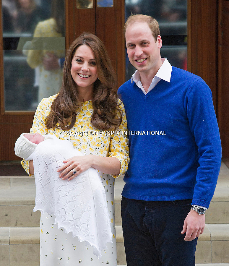 02.05.2015, London; UK: BIRTH OF NEW PRINCESS - DUKE AND DUCHESS OF CAMBRIDGE<br /> with their new born daughter, St.Mary's Hospital Paddington<br /> The Princess was born at 8.34 am and weighed 8lbs 3oz.<br /> MANDATORY PHOTO CREDIT: &copy;Dias/NEWSPIX INTERNATIONAL<br /> <br /> (Failure to credit will incur a surcharge of 100% of reproduction fees)<br /> <br /> **ALL FEES PAYABLE TO: &quot;NEWSPIX  INTERNATIONAL&quot;**<br /> <br /> Newspix International, 31 Chinnery Hill, Bishop's Stortford, ENGLAND CM23 3PS<br /> Tel:+441279 324672<br /> Fax: +441279656877<br /> Mobile:  07775681153<br /> e-mail: info@newspixinternational.co.uk