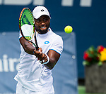 Donald Young (USA) falls to Milos Raonic (CAN) by 64 75 in the semifinals of the Citi Open in Washington, DC on August 2, 2014.
