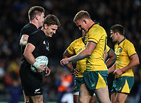 Beauden Barrett celebrates his try during the Bledisloe Cup and Rugby Championship rugby match between the New Zealand All Blacks and Australia Wallabies at Eden Park in Auckland, New Zealand on Saturday, 25 August 2018. Photo: Simon Watts / lintottphoto.co.nz