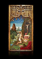 Gothic Catalan Alterpiece of Sant Jeroni Penetant by Mestre de la Seu d'Urgell, circa 1495, tempera and gold leaf on wood, from the church of Santa Maria de Puigcerda, Baixa Cerdanya, Spain.  National Museum of Catalan Art, Barcelona, Spain, inv no: MNAC  15821. Against a black background.