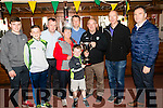 Pictured are the Keane family who presented the cup in memory of Tom Keane to launch the new Premier Junior Club County Championship competition on Sunday last in Fitzgerald Stadium, Killarney,  l-r: Peader, Micheál, Tom, Nuala, Darragh and Peter Keane with Diarmuid Ó Se (Vice Chairman Kerry County Board) Peter Twiss and Eamon Whelan.