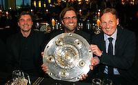 FUSSBALL   1. BUNDESLIGA   SAISON 2011/2012   34. SPIELTAG Borussia Dortmund feiert im Restaurant View in Dortmund die Meisterschaft am 05.05.2012 Michael Zorc, Trainer Juergen Klopp und Hans-Joachim Watzke (v.l.)