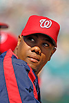 5 March 2006: Livan Hernandez, pitcher for the Washington Nationals, looks out of the dugout during a Spring Training game against the Baltimore Orioles. The Nationals defeated the Orioles 10-6 at Space Coast Stadium, in Viera Florida...Mandatory Photo Credit: Ed Wolfstein..
