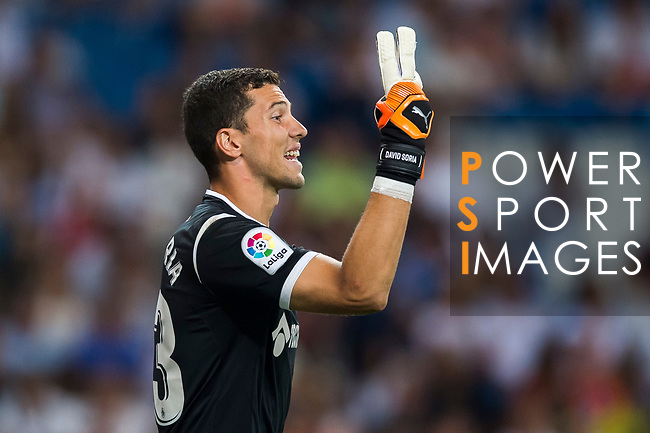 Goalkeeper David Soria Solis of Getafe CF reacts during the La Liga 2018-19 match between Real Madrid and Getafe CF at Estadio Santiago Bernabeu on August 19 2018 in Madrid, Spain. Photo by Diego Souto / Power Sport Images