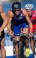 25 AUG 2013 - STOCKHOLM, SWE - Grégory Rouault (FRA) of France cycles in a pack during the men's ITU 2013 World Triathlon Series round in Gamla Stan, Stockholm, Sweden (PHOTO COPYRIGHT © 2013 NIGEL FARROW, ALL RIGHTS RESERVED)