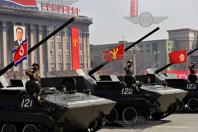 A row of armoured vehicles forming part of a military parade in Kim Il-sung Square, during a ceremony marking the 100th birthday of Kim Il-sung.