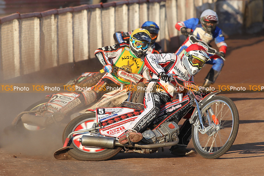 Heat 20: Michael Jepsen Jensen (Denmark) ahead of Sam Masters (Australia) - FIM Speedway World Under-21 Team Cup Semi Final at Arena Essex Raceway, Purfleet - 27/05/12 - MANDATORY CREDIT: Gavin Ellis/TGSPHOTO - Self billing applies where appropriate - 0845 094 6026 - contact@tgsphoto.co.uk - NO UNPAID USE.