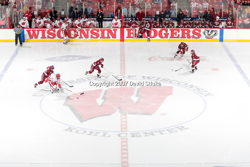MADISON, WI - MARCH 10: The Wisconsin Badgers women's hockey team battles against the Harvard Crimson during their NCAA tournament game at the Kohl Center on March 10, 2007 in Madison, Wisconsin. The Badgers beat the Crimson 1-0 in the 7th period. (Photo by David Stluka)