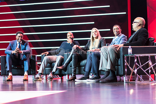 LAS VEGAS, NV - JANUARY 11: Chris Webber, Baron Davis, Elena Della Donne, Isiah Thomas and Dennis Scott at Players Only Panel at CES 2018 in Las Vegas, Nevada on January 11, 2018. Credit: Damairs Carter/MediaPunch