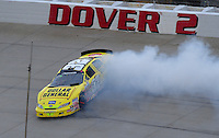 May 31, 2008; Dover, DE, USA; Nascar Nationwide Series driver Kyle Busch spins during the Heluva Good 200 at the Dover International Speedway. Mandatory Credit: Mark J. Rebilas-US PRESSWIRE