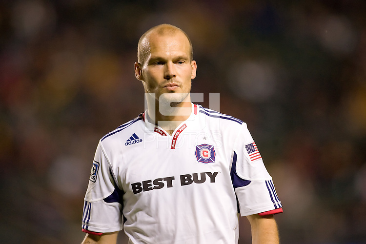 Chicago Fire forward Freddie Ljungberg readies himself for a cornerkick. The Chicago Fire defeated CD Chivas USA 3-1 at Home Depot Center stadium in Carson, California on Saturday October 23, 2010.