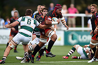 Brandon Nansen of the Dragons takes on the Ealing Trailfinders defence. Pre-season friendly match, between Ealing Trailfinders and the Dragons on August 11, 2018 at the Trailfinders Sports Ground in London, England. Photo by: Patrick Khachfe / Onside Images