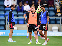 Lincoln City's Harry Anderson, left, and Bruno Andrade during the pre-match warm-up<br /> <br /> Photographer Andrew Vaughan/CameraSport<br /> <br /> The EFL Sky Bet League One - Wycombe Wanderers v Lincoln City - Saturday 7th September 2019 - Adams Park - Wycombe<br /> <br /> World Copyright © 2019 CameraSport. All rights reserved. 43 Linden Ave. Countesthorpe. Leicester. England. LE8 5PG - Tel: +44 (0) 116 277 4147 - admin@camerasport.com - www.camerasport.com