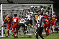 Michal Arivnak fails to punch clear in the St Mirren v Dunfermline Athletic Clydesdale Bank Scottish Premier League U20 match played at St Mirren Park, Paisley on 2.10.12.