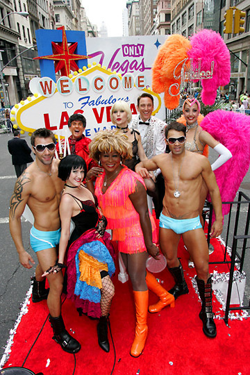 "A ""Welcome to Las Vegas"" float at a public relations event in NYC."