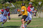 Los Angeles, CA 02/16/14 - Ross Ewing (USC #17) and Nicholas Feeney (USC #21) and Charlie Falla (Washington State #16) in action during the Washington State - USC game, part of the 2014 Pac-12 Shootout at UCLA.  USC defeated Washington State 13-10.
