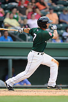 Second baseman Reed Gragnani (7) of the Greenville Drive bats in a game against the Lexington Legends on Sunday, July 21, 2013, at Fluor Field at the West End in Greenville, South Carolina. Gragnani was a 2013 draft pick out of the University of Virginia. Lexington won, 2-0. (Tom Priddy/Four Seam Images)