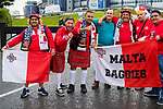 Malta fans gather outside Hampden park before the World Cup Qualifying Group F match at Hampden Park Stadium, Glasgow. Picture date 4th September 2017. Picture credit should read: Craig Watson/Sportimage