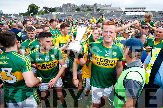 Kerry Captain Johnny Buckley with the cup after their victory over Cork in the Munster Senior Football Final at Fitzgerald Stadium on Sunday.