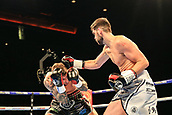 30th September 2017, Echo Arena, Liverpool, England; Matchroom Boxing, Eliminator for WBA Bantamweight World Championship; British and Commonwealth Super-Middleweight Championships Rocky Fielding versus David Brophy;  Rocky Fielding catches David Brophy with a sweet right hook