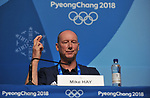 Mike Hay (TeamGB Chef de Mission for Pyeongchang2018) crosses his fingers. TeamGB final press conference. Main press centre. Alpensia. Pyeongchang2018 winter Olympics. Republic of Korea. 25/02/2018. ~ MANDATORY CREDIT Garry Bowden/SIPPA - NO UNAUTHORISED USE - +44 7837 394578