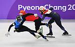 Hongzhi Xu (CHN, 70) and Nurgergen Zhumagaziyev (KAZ) crash. Short track. Gangneung ice arena. Pyeongchang2018 winter Olympics. Gangneung. Republic of Korea. 10/02/2018. ~ MANDATORY CREDIT Garry Bowden/SIPPA - NO UNAUTHORISED USE - +44 7837 394578