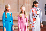 (R to L) Queen Letizia, Princess of Asturias Leonor and Infant Sofia attend auddience in Oviedo because of Princess of Asturias Awards 2019. October 18, 2019 (Alterphotos/ Francis Gonzalez)