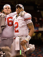 Terrelle Pryor of Ohio State celebrates with teammates after defending Arkansas during 77th Annual Allstate Sugar Bowl Classic at Louisiana Superdome in New Orleans, Louisiana on January 4th, 2011.  Ohio State defeated Arkansas, 31-26.