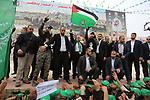 Chairman of the political bureau of the Hamas Palestinian Islamist movement, Ismail Haniyeh attends a rally marking the 31th anniversary of the founding of the Hamas movement, in Gaza city, December 16, 2018. Photo by Ashraf Amra