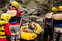 Rafters prepare for a trip with Mountain Whitewater Descents on the Cache Le Poudre River near Fort Collins, Colorado, Friday, August 24, 2012. The worst drought since the 1950s is ricocheting through the economy, hitting everything from tractor sales in the Midwest to the ability of rafting companies in Colorado to run summer tours on low rivers.<br /> <br /> Photo by MATT NAGER
